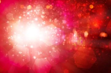 Red sparkles rays lights  glitter bokeh Festive Elegant abstract background.