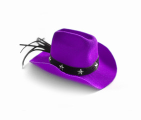Funny cute dog costume violet cowboy hat with stars. Countryside clothes fashion concept. Isolated on a white background. Close up, top view.