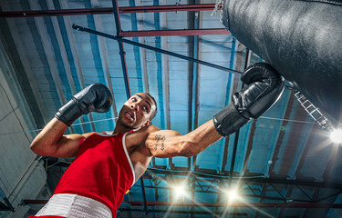 Afro american male boxer.