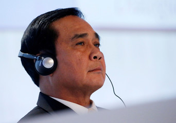 Thai Prime Minister Prayuth Chan-ocha waits to deliver a keynote address at the IISS Shangri-La Dialogue in Singapore