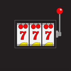 Slot machine. 777 Jackpot. Lucky sevens. Cherry, lemon row. Red handle lever. Big win Online casino, gambling club sign symbol. Flat design. Black background. Isolated.