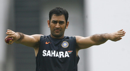 India's captain Dhoni gestures during cricket practice session in Nagpur