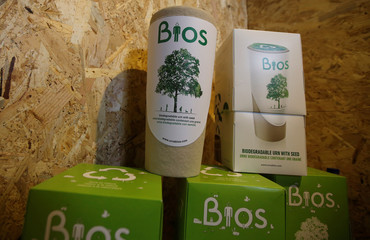 Biodegradable urns are seen during an organic market in Lisbon