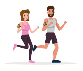 Runners, Men and Women Running. flat character design. vector illustration