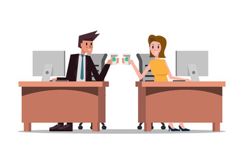 business partners smiling while drinking coffee. business people enjoying coffee break. flat character design. vector illustration