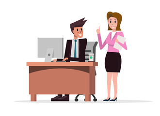 Business woman working in team with a business man in an office. flat character design. vector illustration
