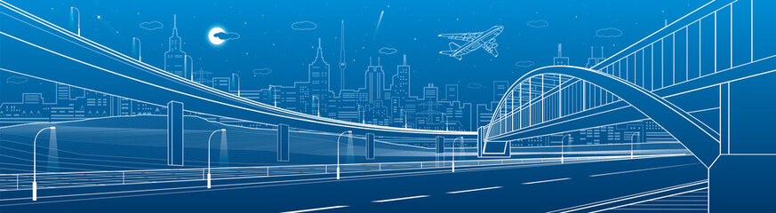 Pedestrian bridge across the highway. Road overpass. Urban infrastructure, modern city on background, industrial architecture. White lines illustration, night scene, vector design art