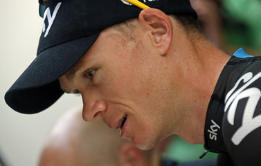 Race leader's yellow jersey Team Sky rider Christopher Froome of Britain prepares for a training session during the second rest day of the centenary Tour de France cycling race in Orange