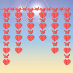 Happy Valentines day background with hanging garlands of hearts and butterflies. Paper elements on sky with flares.