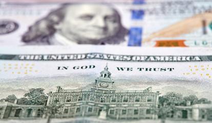 Dollars Closeup Concept. American Dollars Cash Money. One Hundred Dollar Banknotes.