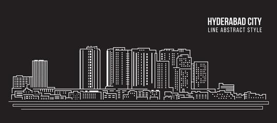 Cityscape Building Line art Vector Illustration design - Hyderabad city Fototapete