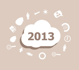 Text 2013. Time concept . Icons set for cloud computing for web and app