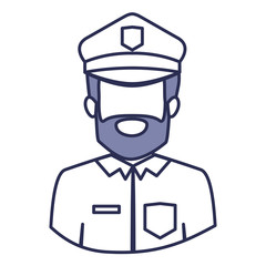 blue contour of half body of faceless bearded policeman vector illustration