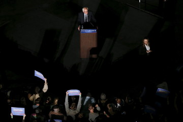 Democratic U.S. presidential candidate Bernie Sanders speaks to supporters during a campaign rally at Missouri State University in Springfield