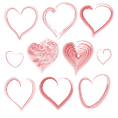 Set of watercolor hearts