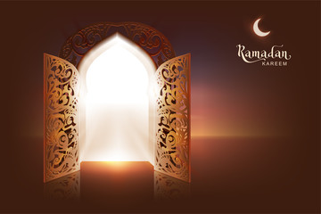 Ramadan Kareem lettering text greeting card. Open door to mosque and moon