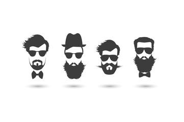 Hipster faces vector illustration set.