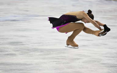 Mirai Nagasu skates in a practice session during the U.S. Figure Skating Championships in Greensboro
