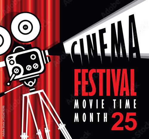 Vector Movie Time Poster With Cinema Red Curtains And Old Fashioned Camera Background