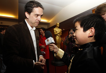 Lee Unkrich, director of 'Toy Story 3', is interviewed at a reception honoring the animated feature nominees in Beverly Hills