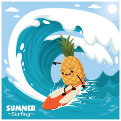 Vintage fruit poster design with vector pineapple surfer.