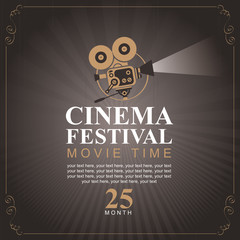 Vector cinema movie festival poster with old fashioned movie camera. Can used for banner, poster, web page, background