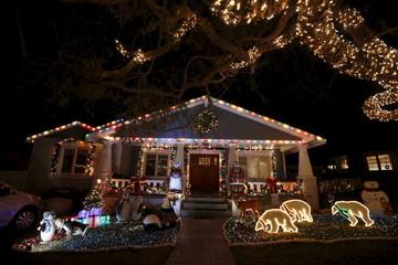 Christmas lights are seen on a home in the Sleepy Hollow neighborhood of Torrance