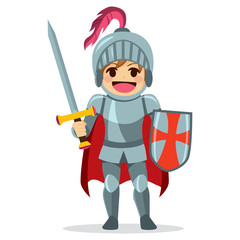 Papiers peints Chevaliers Cute little brave knight boy holding sword and shield