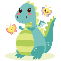 Cute lovely happy dragon with butterfly friends