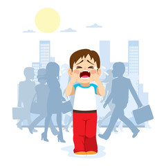 Cute little child crying because he is lost in the city with silhouette people on background