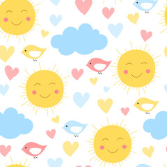 Cartoon sun, cloud. heart and bird background. Seamless pattern for kid textile and other print. Vector illustration