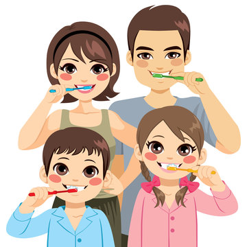 Cute four member family brushing teeth together