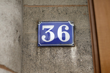 The sign number 36 is pictured at the main entrance of the 36, Quai des Orfevres, Paris headquarters of the criminal police, on the Ile de la Cite in Paris