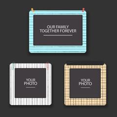 Vintage photo frames collage. Scrapbook retro design concept. Album template for kid, baby, family or memories