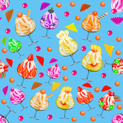 Illustration background seamless with a fruit and berry ice cream in a croissant with a strawberry banana blueberry