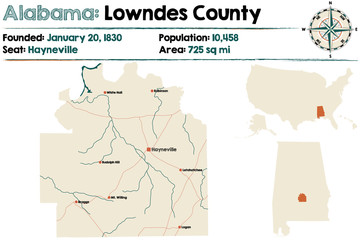 Large and detailed map of Lowndes County in Alabama.