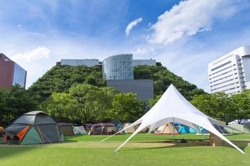 Urban camp, displaying various tents