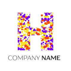 Letter H logo with purple, yellow, red particles and bubbles dots on white background. Vector template for your design