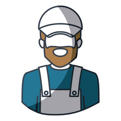 color silhouette and thick contour of half body of faceless bearded delivery man vector illustration