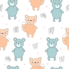 Lovely seamless pattern with cute foxes and bear. Awesome background in bright colors in vector
