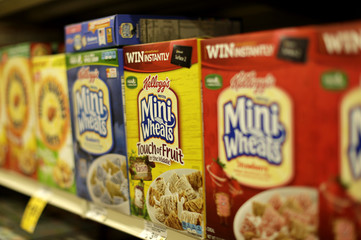 Boxes of Kellogg's Mini Wheats cereal  are seen at the Safeway store in Wheaton Maryland
