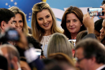First lady Marcela Temer smiles after a launch ceremony of the Happy Child Program at the Planalto Palace in Brasilia