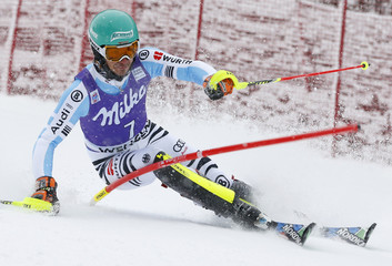 Neureuther of Germany competes during first run of men's Alpine Skiing World Cup slalom in Wengen