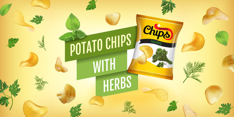 Vector realistic illustration of potato chips with herbs.