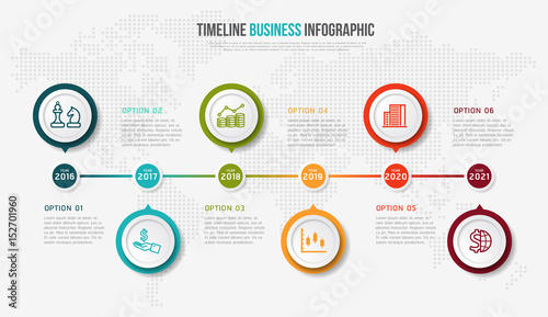 vector infographics timeline design template with 3d paper label