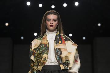 A model presents a creation from the Ruffian 2014 Fall/Winter collection during New York Fashion Week in New York