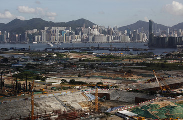 A general view of construction works as part of the Kai Tak Development at the former Kai Tak International Airport area in Hong Kong