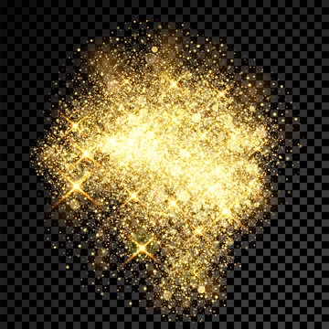 Gold glitter spray effect of sparkling particles on vector transparent background