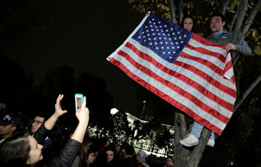 Student wave the American Flag from a tree in front of the White House as the polls are counted in the U.S. presidential election in Washington.