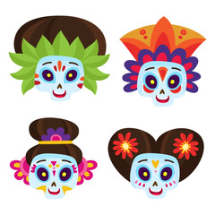 Vector set with colorful skulls for day of the dead